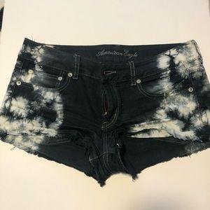 Low Rise American Eagle Tie Dye Denim Shorts
